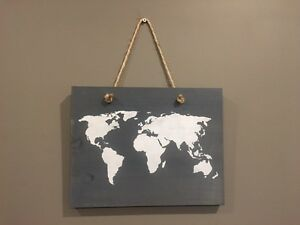 Rustic Wall Art World Map on Stained Pine
