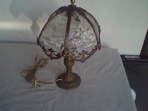 Antique Very Ornate Boudoir Table Lamp with Bent Class