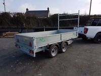 Dropside flatbed builders trailers all sizes available