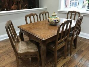 Solid Wood Antique French Table + 6 Chairs
