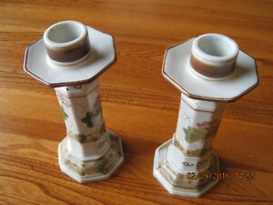 Art Nouveau Style Ceramic Dinner Candlestick Holders