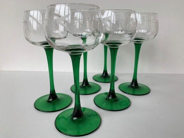 6 verres à vin blanc d'alsace luminarc france à décor de grappes de raisin