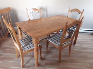 For Sale Solid Wood Dining Table -  4 Matching Chairs & Hutch