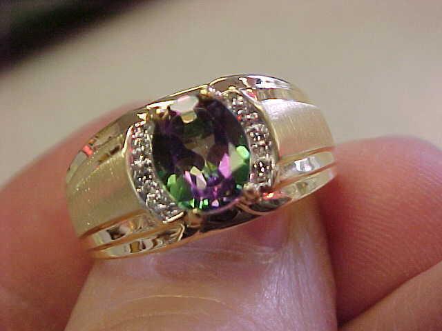 Spectacular  Mystic Topaz & Diamond Ring  Size 10-1/2  Gorgeous!   Unisex