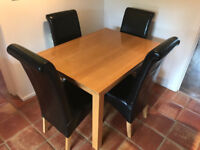 Oak Table and 4 leather chairs
