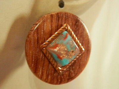 Regal Ornate Wood And Copper Pink Gold Stone Vintage 50S Clip Earrings 483A7