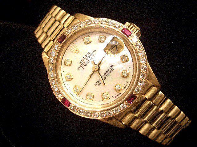 Ladies Rolex 18k Yellow Gold Datejust President Watch White Mop Diamond & Rubies