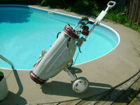 goft cart and bag and golf clubs