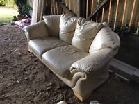 Three Seater Leather Sofa, Arm Chair and Foot Stool - Free To Collect
