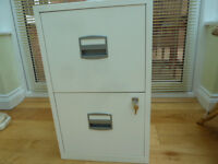 Two drawer filing cabinet with file hangers