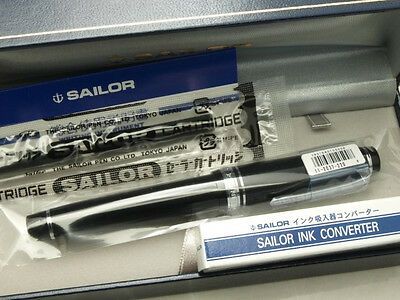 Sailor Professional Gear Silver color 21K  Bicolor F-nib & converter 11-2037-220