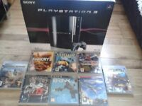 sony ps3.. supplied with box, console.. all leads, controller etc.. also 8 games