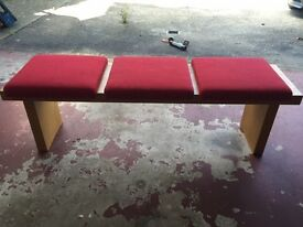 Pine looking Dining Bench with 3 RED removal seat pads
