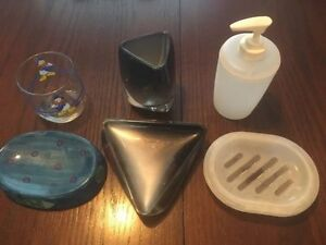 6 piece bathroom soap and cup dish set
