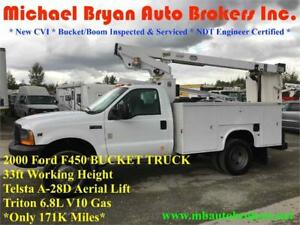 2000 FORD F450 33FT BUCKET TRUCK *FIBER OPTIC SPECIAL PRICE*