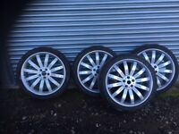 """Set of 22"""" Alloy wheels and nearly new tyres."""