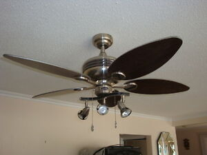 Beautiful stainless steel Westinghouse ceiling fan-lamp.