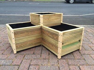 CORNER WOODEN DECKING  TROUGH  - GARDEN PLANTER PLANT POT BOX