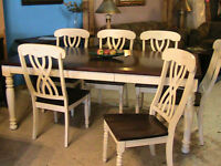 Walnut & antiqued white country style dining set with curio. Sol