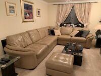 Sofa leather corner unit with ottoman