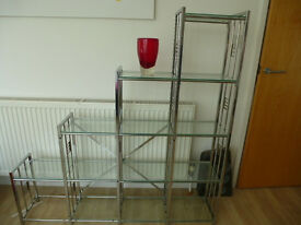 Glass and chrome display unit