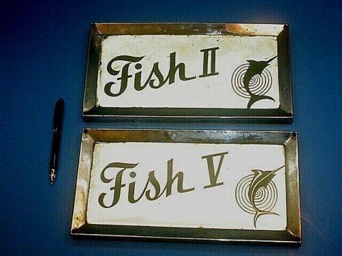 TWO 1965 66 RAMBLER MARLIN FISH 2 FISH 5 LICENSE PLATES