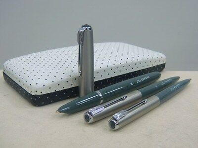 Parker 51 Aerometric UK Navy Grey 51 Lustraloy Cap 3peice SET 1/10 14K M nib