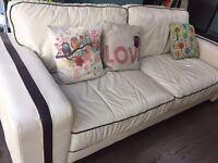 Cream Leather Sofa set (3 + 2 seater)