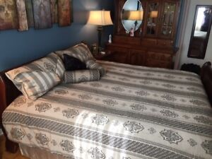King size Bedspread, Shams, Bed skirt and matching Drapes.