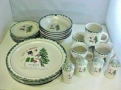 Christmas Dinnerware Lot of 25 Porcelain Let It Snow 1998 Snowman Snowlady Child ()