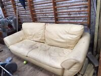 Free large sofa - cream leather-- needs a really good clean!