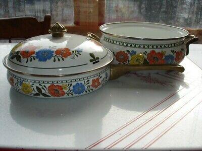 3-Piece Porcelain Enamel Over Steel Saucepan, Skillet and Lid, Floral Pattern. Porcelain Enamel Steel