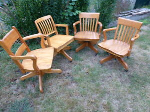 Vintage Solid Oak Rolling/ Adjustable Chairs