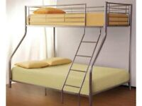 pay on your door trio sleeper metal bunk bed with 1000 pocket sprung and orthopedic mattress