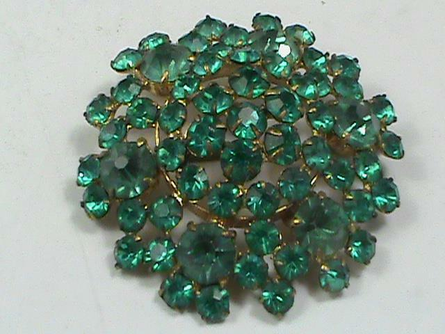 Antique Czech Aqua Blue Glass Rhinestone Brooch Goltone Pin Art Deco L@@K!