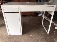 White Ikea Micke desk. 2 drawers and 1 door. Needs tlc £15