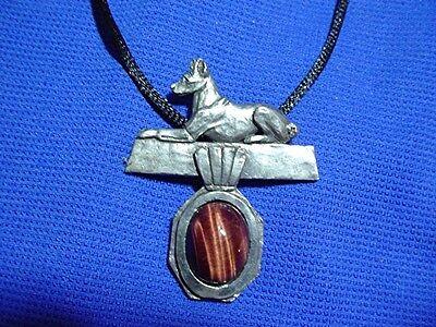 Basenji on Tiger Eye necklace #40Q2 Pewter Sighthound dog jewelry Hound #40Q1