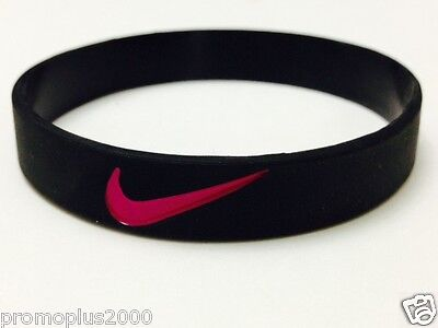 Nike Sport Baller Band Black with Pink Logo Silicone Rubber Bracelet Wristband