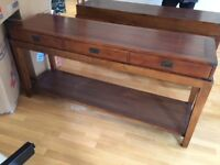 2 wood console tables from a show home