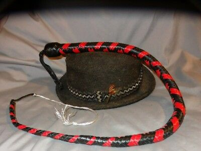 Kangaroo RED Leather Signal Whip/Singletail 3 ft 12 Plait Shot Loaded - Signal Whip