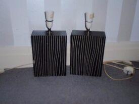 2 Dark Brown Striped Lamp Bases