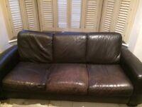 Italian Leather Sofa - dark brown - Bargain