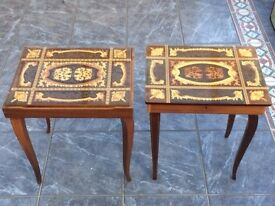 Pair of vintage Italian marquetry tables, Torna A Sorrento music box & chess set