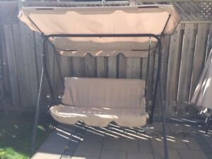 Outdoor Swing Bed with Adjustable Tilt Canopy