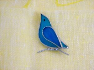 HANDMADE Stained Glass Brooch Pin, Blue Bird, NEW One of A Kind