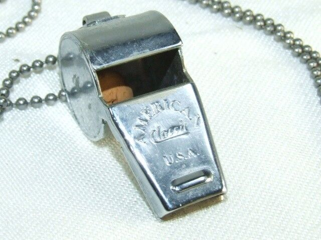 Vintage American Classic Whistle Made in USA w/ Cork Ball Referee Military