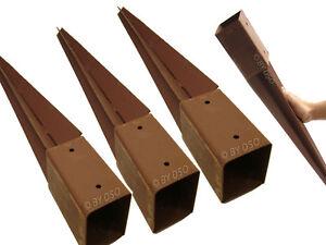 4-x-GARDEN-FENCE-POST-METAL-HOLDER-SPIKE-RUST-RESISTANT-75mm-HEAVY-DUTY