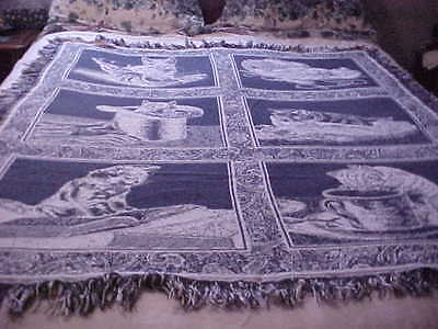 "Vintage Cat Cotton Reversable Tapestry Afghan Throw Blanket 50"" x 60"""
