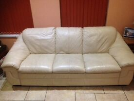 2 Cream leather sofas in very good condition