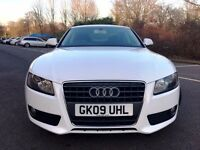 AUDI A5 COUPE TFSI 2009 WHITE LOW MILEAGE 69K MILES LONG MOT FULL SERVICE HPI CLEAR